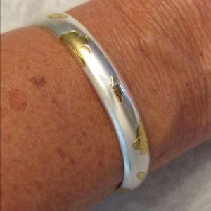 Gold and silver bangle bracelet 925 FAS